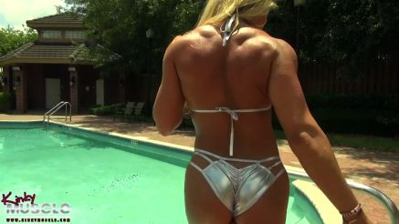 female bodybuilder pornstar diva wet in pool