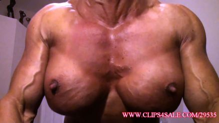 fucking massive female muscle pec pump