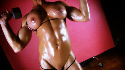 Ginger Martin oiled up working out topless.