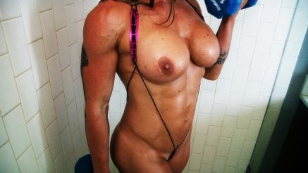 wet hard female muscle topless