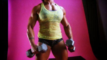 Karen Garrett working out her thick muslce.