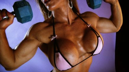 female bodybuilder Maria Garica huge tits workout