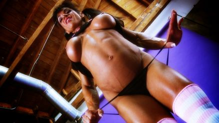 Marina Lopez Athletic Muscle Girl Workout And Strip Tease