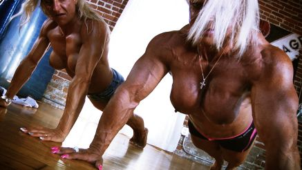 fbb Maryse Manios and Isabelle Leveau topless pushups
