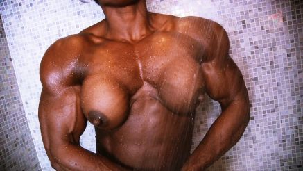 massive fbb flexing topless in shower
