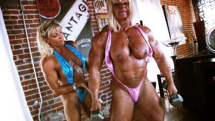 Topless female bodybuilder