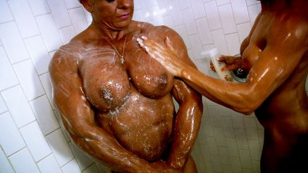 female bodybuilders soaping up in the shower nude