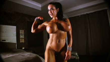 naked fit model huge tits flexing her bicep