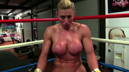 super muscular naked female boxing