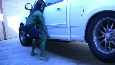 she hulk angela salvagno lifting a truck