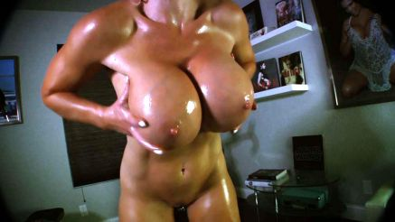 huge fake tits covered in oil fitness model