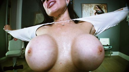 busty fitness girl showing off huge tits on webcam