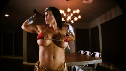 fitness model wonder woman cosplay muscle