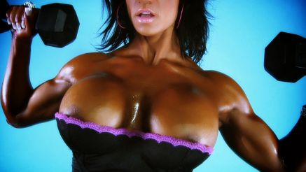 Jennifer Love boobs popping out of her top working out.