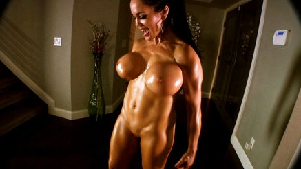 fitness model pornstar flexing nude body