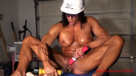 female bodybuilder fucking herself with power tools