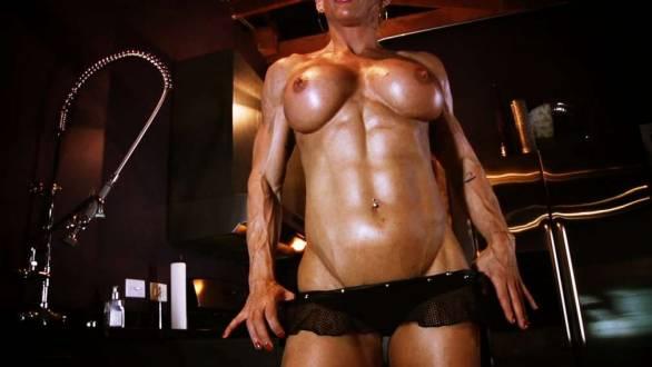 female bodybuilder jill jaxen topless bicep flex