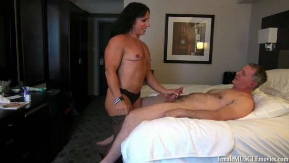 muscle girl stroking a guys hard cock hand job porn
