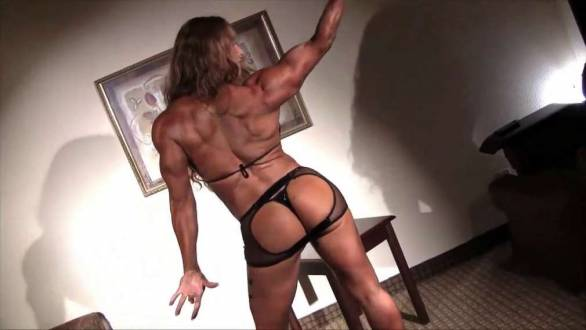 incredibly ripped back female bodybuilder