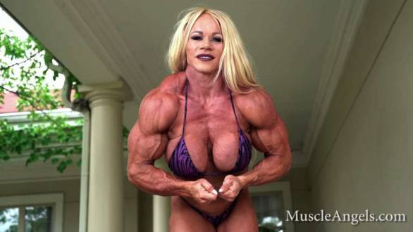 female bodybuilder aleesha young flexing contest shape