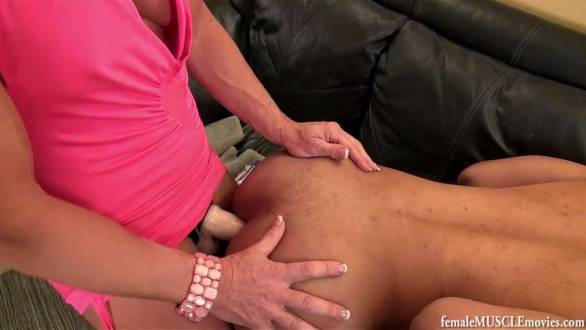 submissive guy penetrated with a big strap on