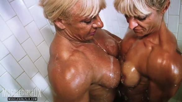 nude female bodybuilders rubbing their tits in the shower