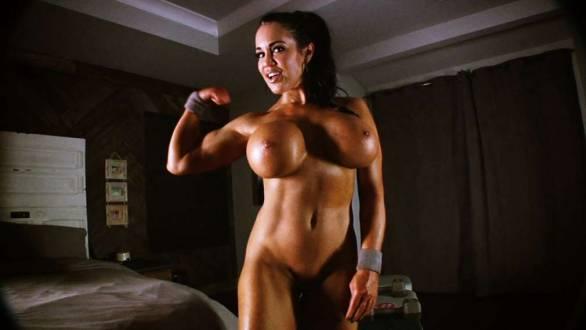 naked fit model huge tits flexing her bicep
