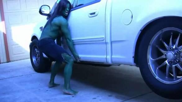 she hulk angela salvagno lifting a truck