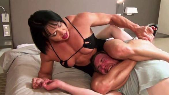 Rene Campbell incredible strong muscle girl domination choke hold