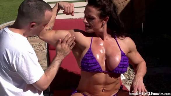 muscle worship female bodybuilder big biceps