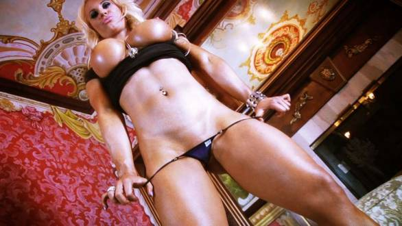 blonde barbie thick muscle legs and big underboob tits