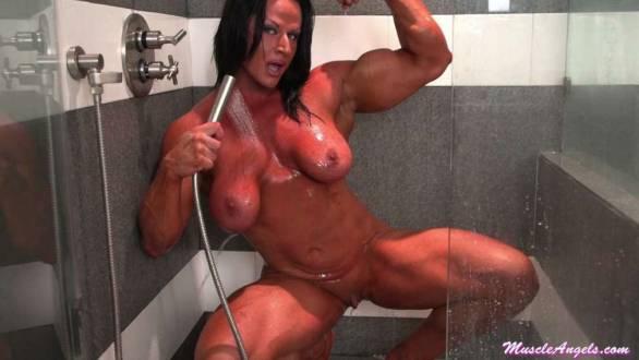 massive fbb naked shower flexing bicep