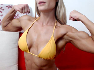 muscular woman on her live webcam