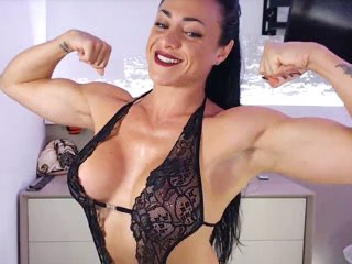 muscular girl flexing on her cam