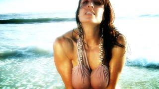 Elise Penn hot and wet dress on the beach.