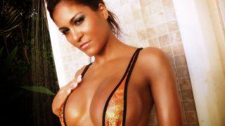 Zara Hawk looking hot in a sling shot bikini.