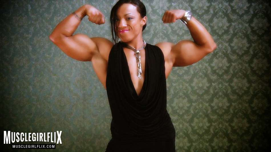 Karen Garrett super huge bicep flex