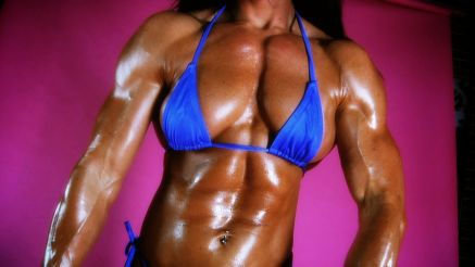Jennifer Scarpetta oiled up thick muscle.