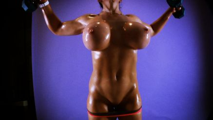 Samantha Kelly huge tits oiled up working out